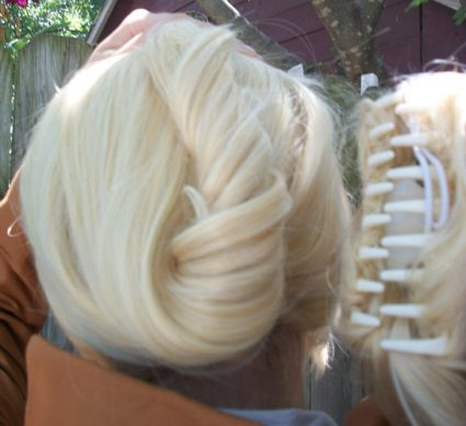 Annie step 2 - pull twist up, attach clip over twist upside-down