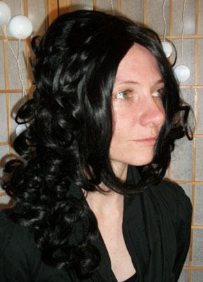 Black steampunk costume wig