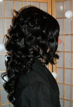 Black steampunk wig side view
