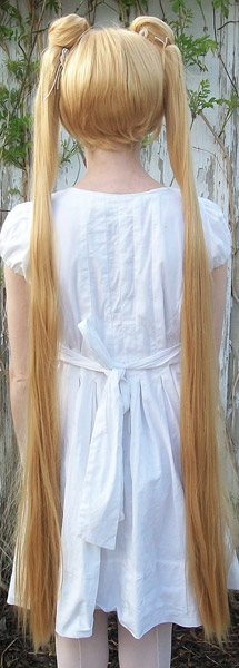 Sailor Moon cosplay wig straight tails back view