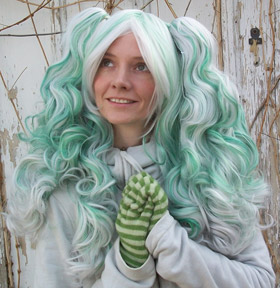 Gothic Lolipocalypse Absinthe Fairy green and white lolita cosplay wig