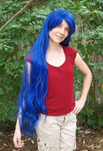 Extra long blue cosplay wigs