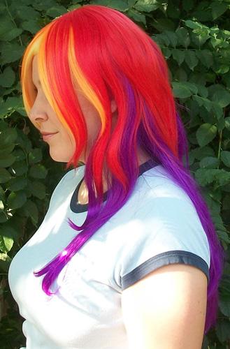 Rainbow Dash cosplay wig side view