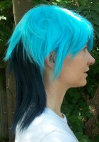 Mordecai cosplay wig side view