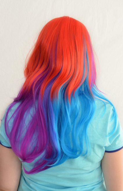 Rainbow Dash cosplay wig back view