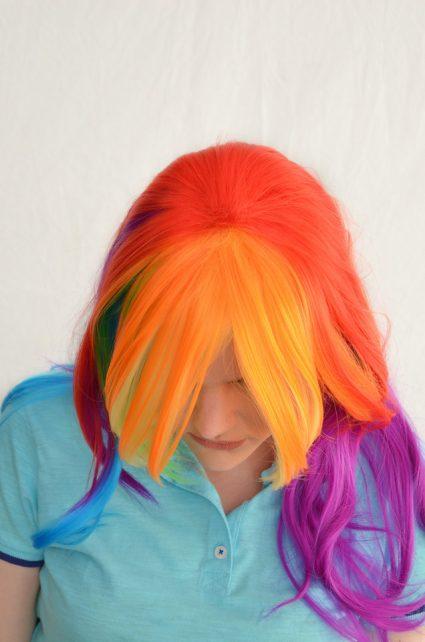 Rainbow Dash cosplay wig top view