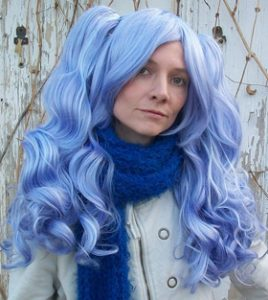 Gothic Lolipocalypse Sapphire Champagne - lavender lolita cosplay wig back view