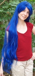 Very long blue wig