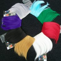 "Bang clips (clockwise) aqua blue, green, red, ""moonlight white"", yellow, ""sugoi black"", purple, ""akuma silver"""