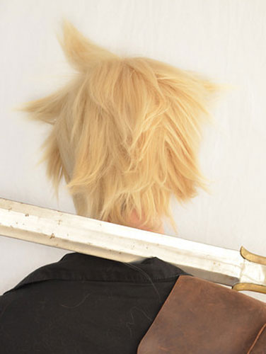 Cloud Strife cosplay wig back view