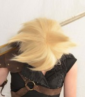 Cloud Strife cosplay wig top view