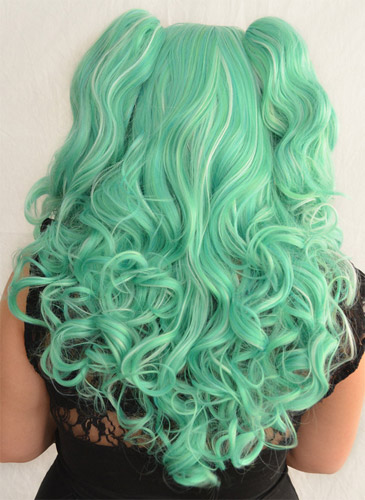 Gothic Lolipocalypse Mint Julep - seafoam lolita wig back view