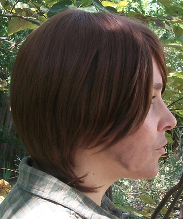 Sam Winchester cosplay wig side view