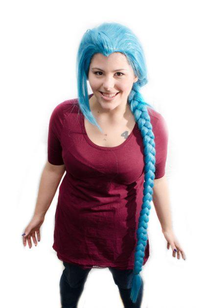 Jinx cosplay wig front view