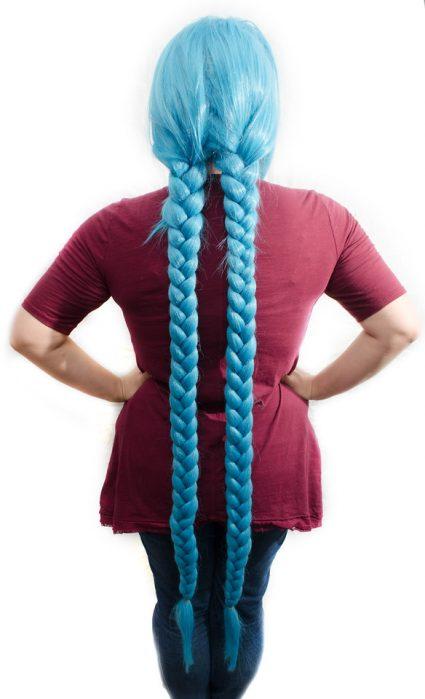 Jinx cosplay wig back view