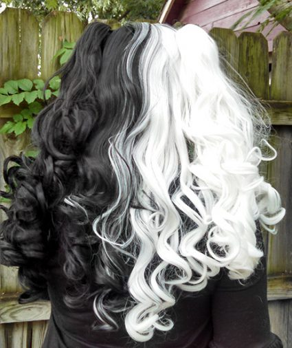 black and white split Gothic Lolipocalypse wig back view