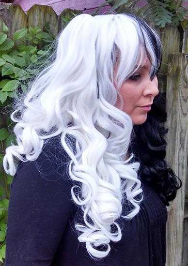 black and white split Gothic Lolipocalypse wig clip view