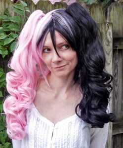 pink and black split ponytail cosplay wig