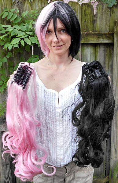 Black And Pink Split Wig 53