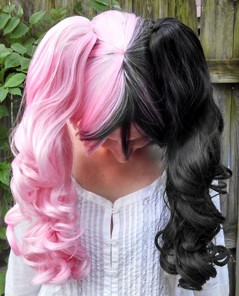Black And Pink Split Wig 73