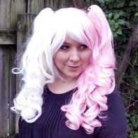 split pink and white ponytail cosplay wig