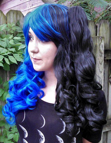 black and blue split Gothic Lolipocalypse wig