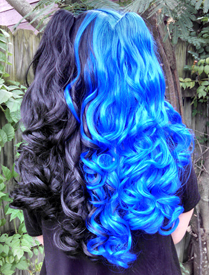black and blue split Gothic Lolipocalypse wig back view