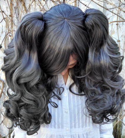 dark gray gothic loli wig top view