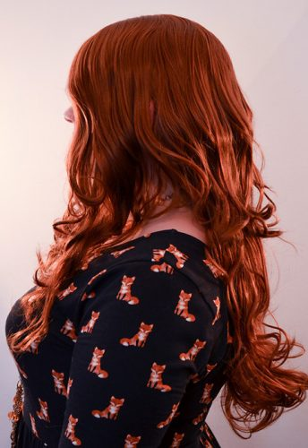 Jean Grey cosplay wig side view