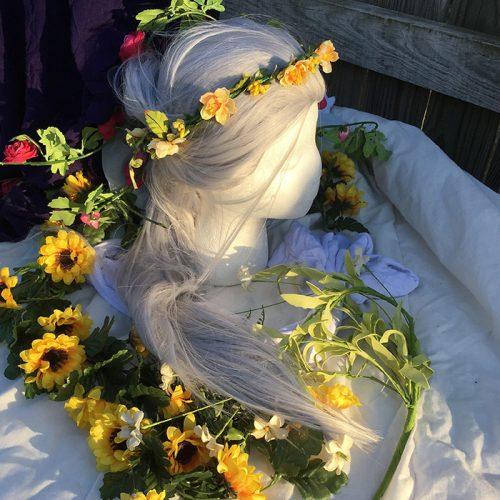 Victor wig flower crown view