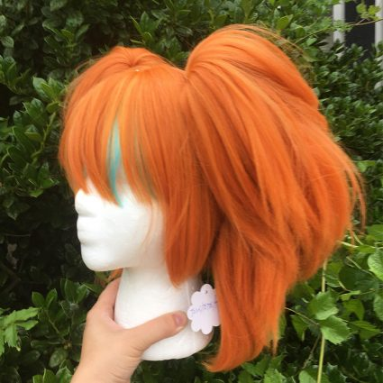Neon cosplay wig side view