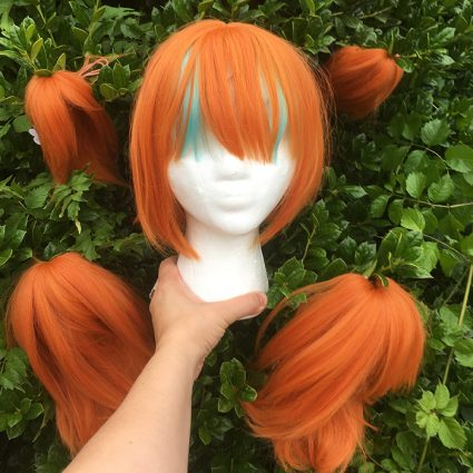 Neon cosplay wig without tails attached