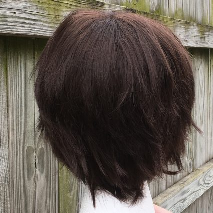 Dark brown wig back view