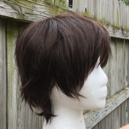 Dark brown wig side view