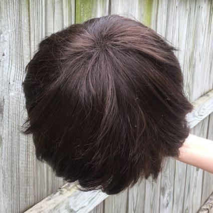 Dark brown wig top view