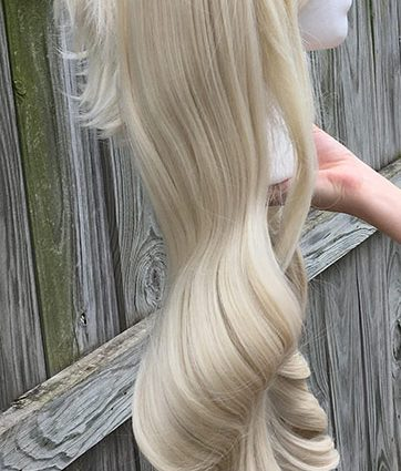 High Kick cosplay wig with ponytails, side view