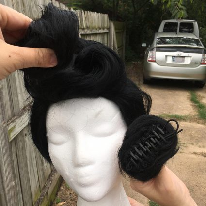 Dandy cosplay wig- pompadour step 2