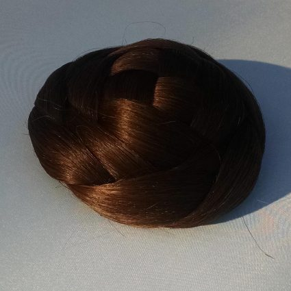 "braided bun in ""determination brown"" color"