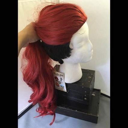 Aubrey cosplay wig side view pulled into ponytail