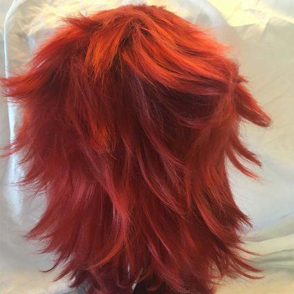 Kirishima cosplay wig back view, fluffed