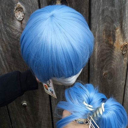 Lily cosplay wig top view with no tails