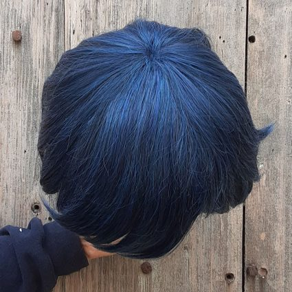 Intergalactic cosplay wig top view