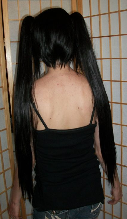 Black Rock Shooter cosplay wig back view