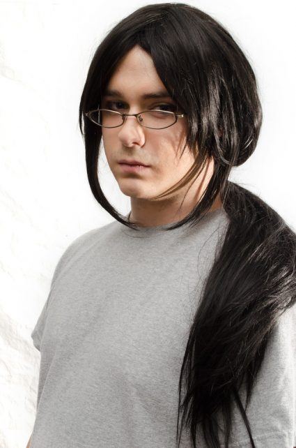Itachi cosplay wig pulled back