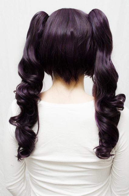 dark purple lolita cosplay wig back view