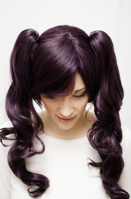 dark purple lolita cosplay wig top view