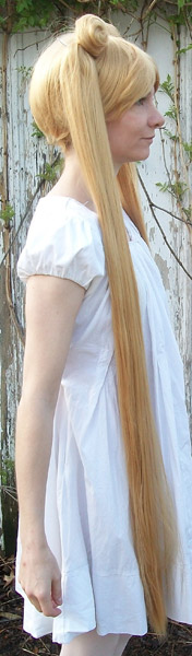 Sailor Moon cosplay wig straight tails side view