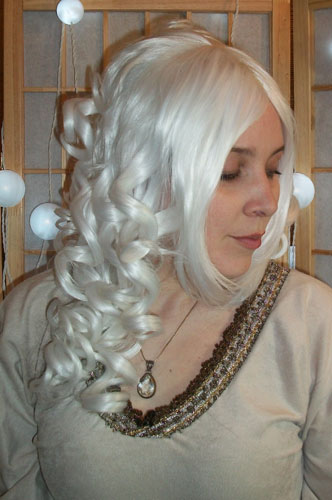 White steampunk cosplay wig side view