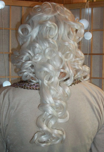 White steampunk cosplay wig back view