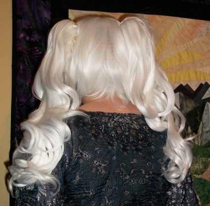 White lolita cosplay wig back view
